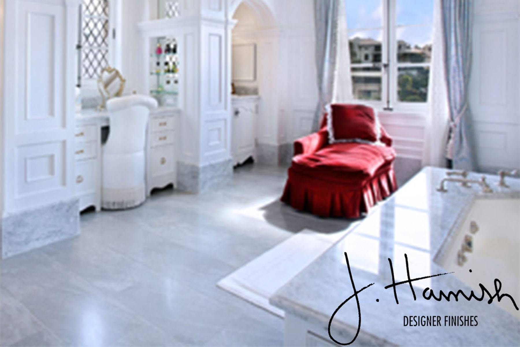 Red Accent Chair in White Room 1 - Gallery